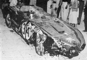 Rozbity samochód Felice Bonetto
